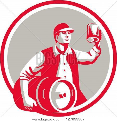 Illustration of an american worker wearing hat carrying keg on one hand and toasting beer mug on the other set inside circle on isolated background done in retro style.