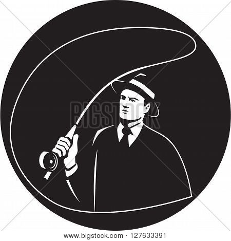 Illustration of a mobster gangster fly fisherman wearing suit tie and hat fishing casting fly rod set inside circle on isolated background done in retro style.
