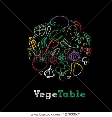 vector hand drawn collection of vegetables on blackboard with chalk