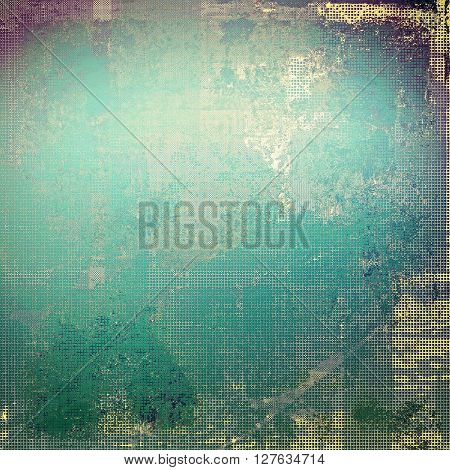 Art grunge background or vintage style texture with retro graphic elements and different color patterns: yellow (beige); gray; green; blue; purple (violet); cyan