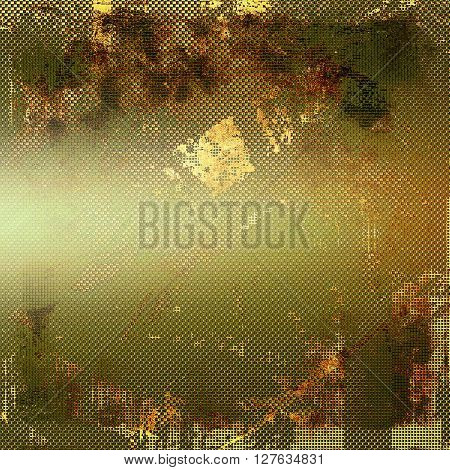 Grunge texture, aged or old style background with retro design elements and different color patterns: yellow (beige); brown; gray; green