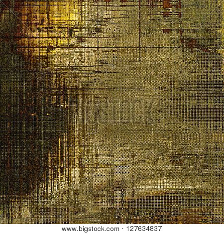 Abstract vintage background with grunge effects, ragged elements, and different color patterns: yellow (beige); brown; gray; black