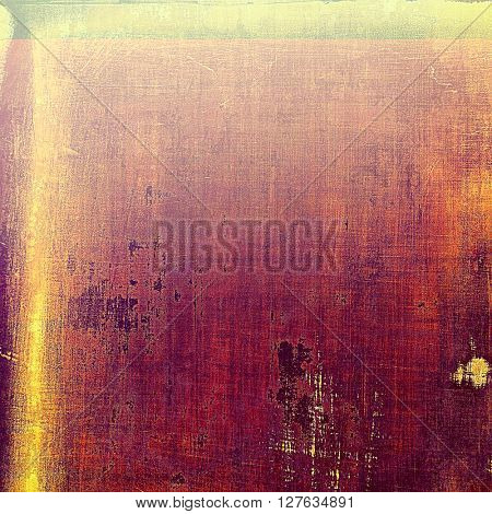 Old style decorative composition or designed vintage template with textured grunge elements and different color patterns: yellow (beige); brown; gray; red (orange); purple (violet); pink