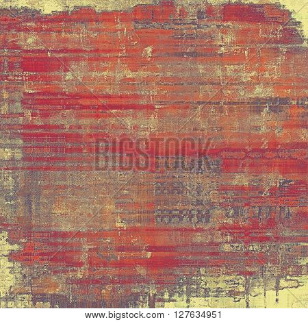 Old style decorative composition or designed vintage template with textured grunge elements and different color patterns: yellow (beige); gray; red (orange); purple (violet); pink