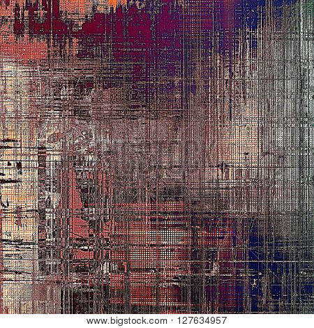 Retro style abstract background, aged graphic texture with different color patterns: brown; gray; blue; red (orange); purple (violet); pink