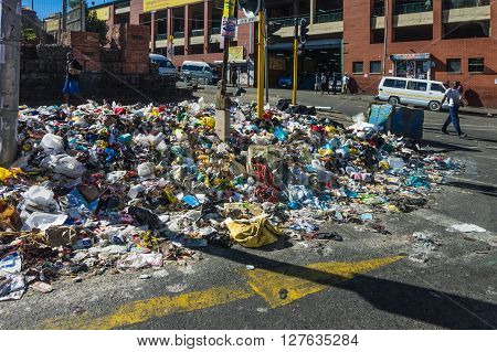 Johannesburg South Africa 28 March 2016: The Johannesburg rubbish collectors go on strike leaving street corners piled with refuse