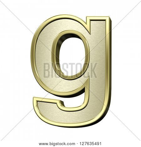 One lower case letter from brushed gold with shiny frame alphabet set, isolated on white. 3D illustration.
