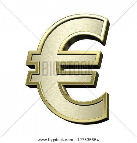 Euro sign from brushed gold with shiny frame alphabet set, isolated on white. 3D illustration.