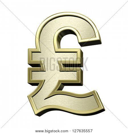 Pound sign from brushed gold with shiny frame alphabet set, isolated on white. 3D illustration.