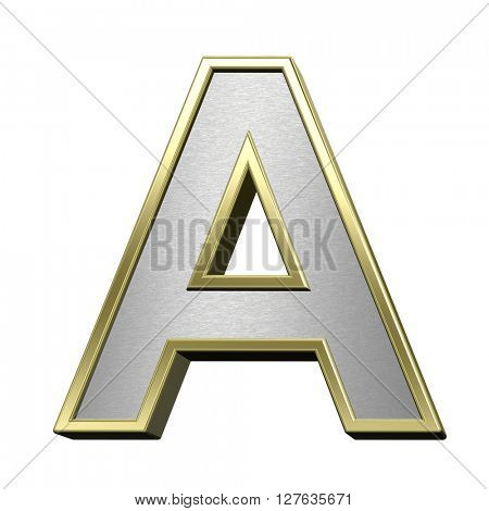 One letter from brushed silver with shiny gold frame alphabet set, isolated on white. 3D illustration.