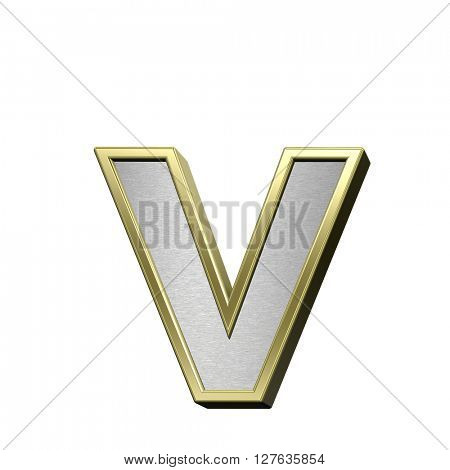 One lower case letter from brushed silver with shiny gold frame alphabet set, isolated on white. 3D illustration.