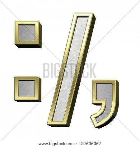 Colon, semicolon, period, comma from brushed silver with shiny gold frame alphabet set, isolated on white. 3D illustration.