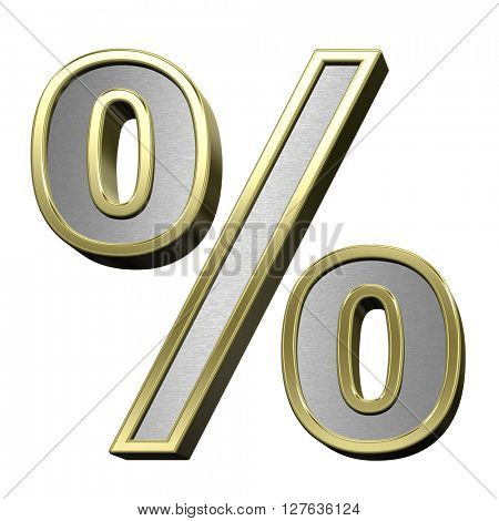 Percent sign from brushed silver with shiny gold frame alphabet set, isolated on white. 3D illustration.