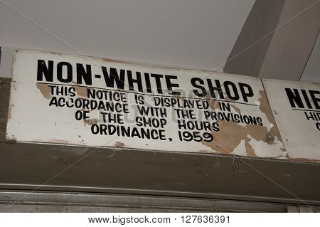 Johannesburg South Africa. One of the last Aparthied signs in the business district of Johannesburg