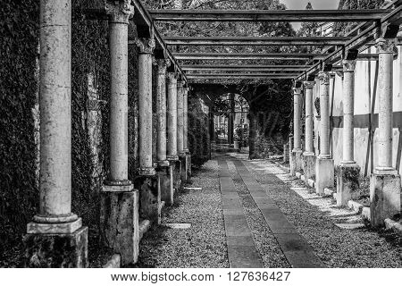 Verona, Italy - March 15, 2016: Colonnade leading to the tomb of Juliet Verona Italy.