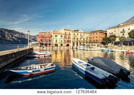 Malcesine Italy - January 18, 2016: Malcesine is a small town on Lake Garda (Italy). Beautiful and picturesque is called