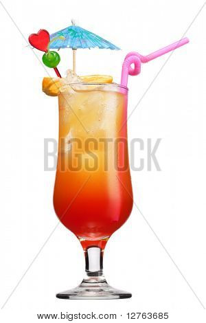 Tequila sunrise Cocktail isolated on a white background