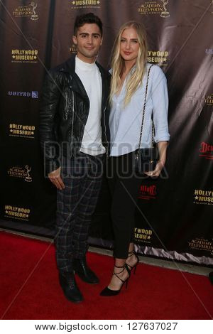 LOS ANGELES - APR 27:  Max Ehrich, Veronica Dunne at the 2016 Daytime EMMY Awards Nominees Reception at the Hollywood Museum on April 27, 2016 in Los Angeles, CA