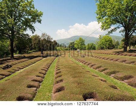 The German Military Cemetery of Costermano is located in a hilly area on the eastern shore of Lake Garda in the municipality of Costermano Italy.