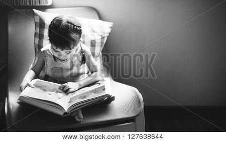 Little Girl Reading Book Black and White