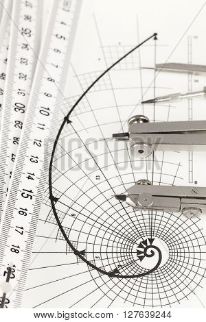 drawing of the golden section, folding ruler & compasses