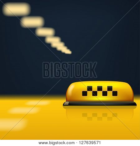 illustration of taxi sign on yellow surface with street lights