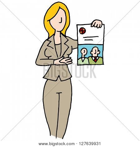 An image of a saleswoman displaying branded document.