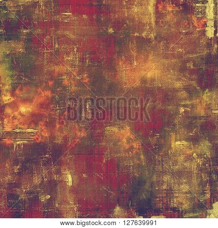 Vintage textured background with copy space. Old style backdrop with different color patterns: yellow (beige); brown; green; red (orange); purple (violet); pink