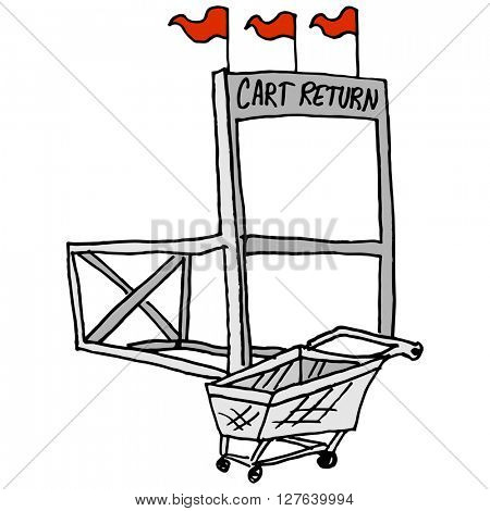 An image of a shopping market cart return station.
