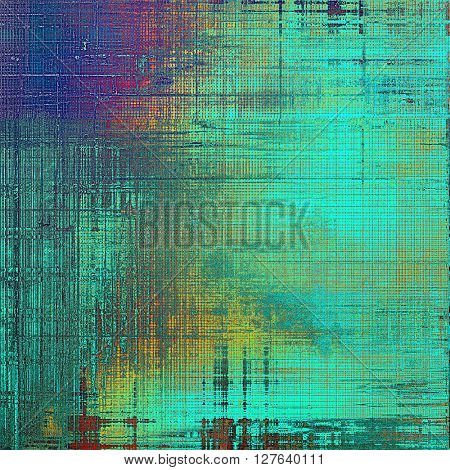 Background with grunge elements on vintage style old texture. With different color patterns: yellow (beige); blue; red (orange); purple (violet); cyan