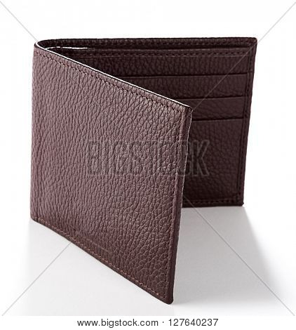 Leather wallet isolated on white background.