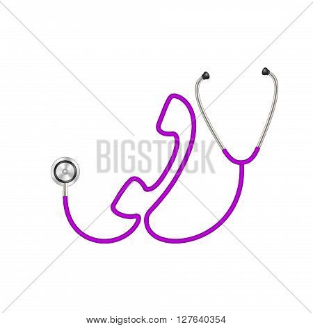 Stethoscope in shape of telephone in purple design