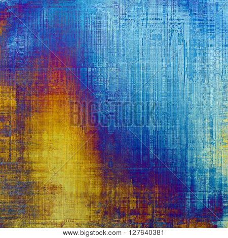 Vintage texture or antique background with grunge decorative elements and different color patterns: yellow (beige); blue; red (orange); purple (violet); cyan