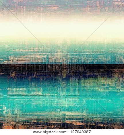 Oldest vintage background in grunge style. Ancient texture with different color patterns: yellow (beige); blue; pink; black; cyan; white
