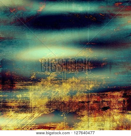 Art grunge background or vintage style texture with retro graphic elements and different color patterns: yellow (beige); brown; blue; red (orange); cyan