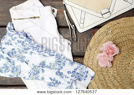 Girly summer outfit - top view -