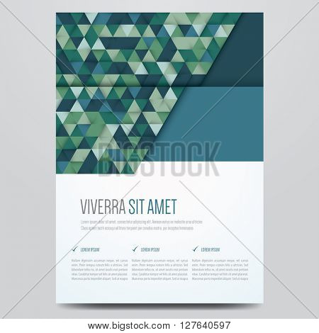 Brochure, flyer, annual report, magazine cover, poster vector template. Modern geometric corporate design. Blue and green triangle pattern.