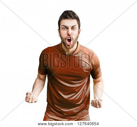 Man wearing red uniform celebrates on white background