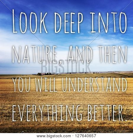 Inspirational Typographic Quote - Look deep into nature, and then you will understand everything better