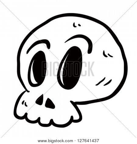black and white skull cartoon illustration isolated on white