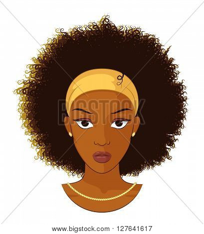 Vector Illustration of an Afro Girl with Curly Hair Wearing Earrings and Necklace