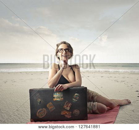 Woman travelling to the seaside