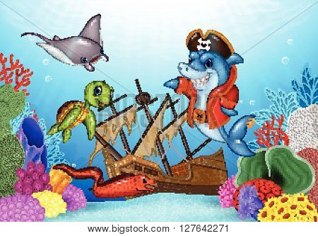 Vector illustration of Cartoon sea animals with Shipwreck on the ocean