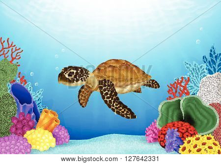 Vector illustration of Turtle with beautiful underwater world