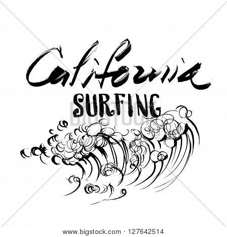 California Surfing Lettering calligraphy brush ink sketch handdrawn serigraphy print