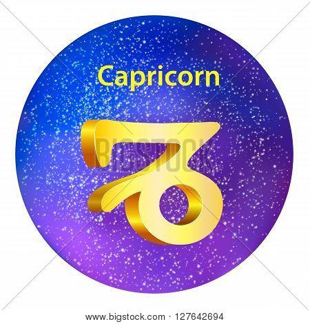 Sign Of The Zodiac Capricorn On The Sky.