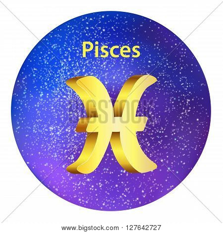 Sign Of The Zodiac Pisces On The Sky.