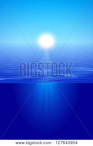 Sunshine over calm water sun beams under surface split view