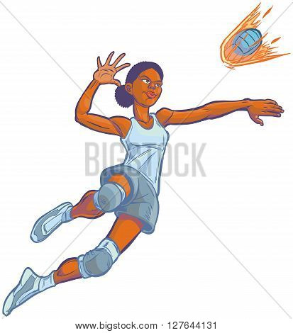 Cartoon clip art illustration of an African American girl volleyball player jumping to spike an incoming serve that looks like a fire ball. Uniform color can be customized in vector.