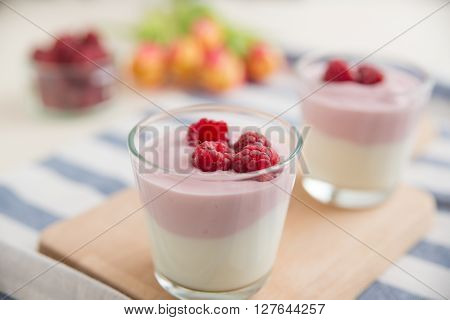 Healthy yogurt with fresh berries and oatmeal
